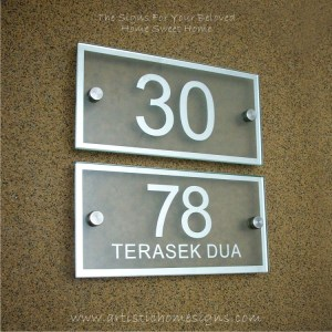 Rectangle Mirror Chrome Border & Text With Sandblast Frosted Finishing House Number Address Sign 05