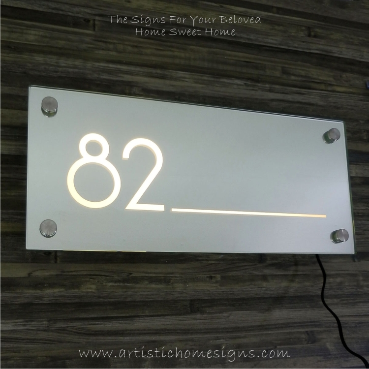 Rectangle Mirror With Border Line Etching House Number Address Sign 82