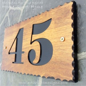WDR-145 Rectangle Wooden House Sign Black Letters 45