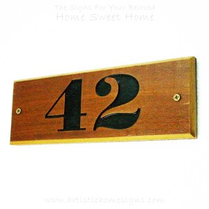 WDR-090 Rectangle Wooden House Sign Black Letters 42