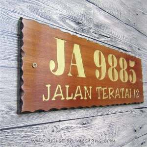 WDR-400 Rectangle Wooden House Sign Gold Letters 9885