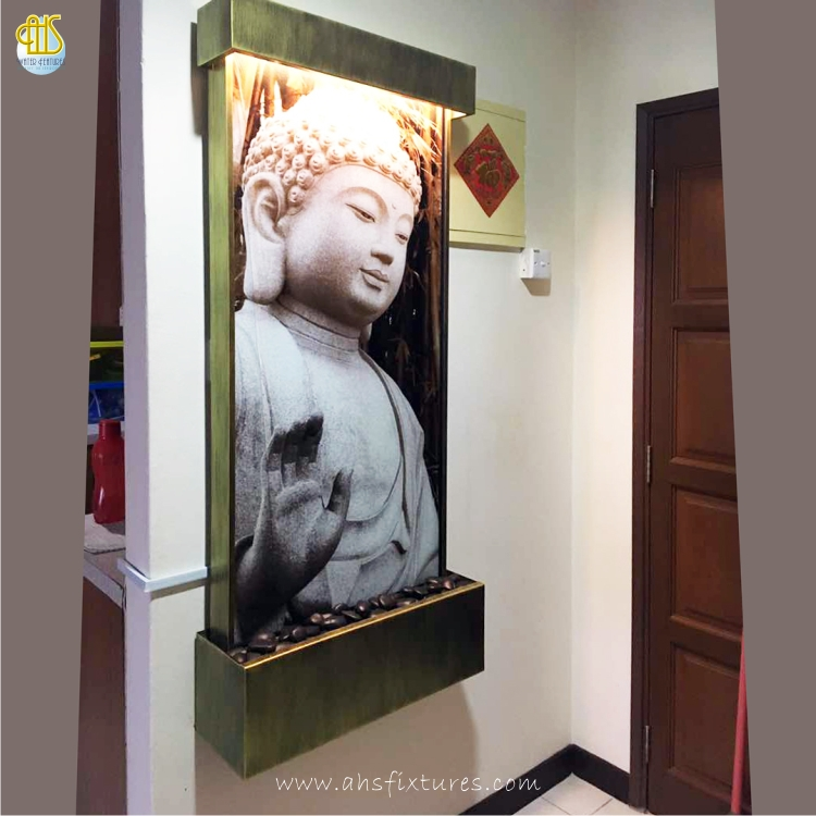 WWG-615 Buddha Art Glass Antique Gold Frame Wall Fountain 03