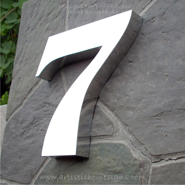 Weather Resistant House Numbers - High Gloss Polish Finished 7