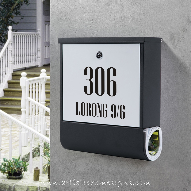 Metal Laser Cut House Number Address With Powder Coated Mailbox Letterbox Made In Malaysia