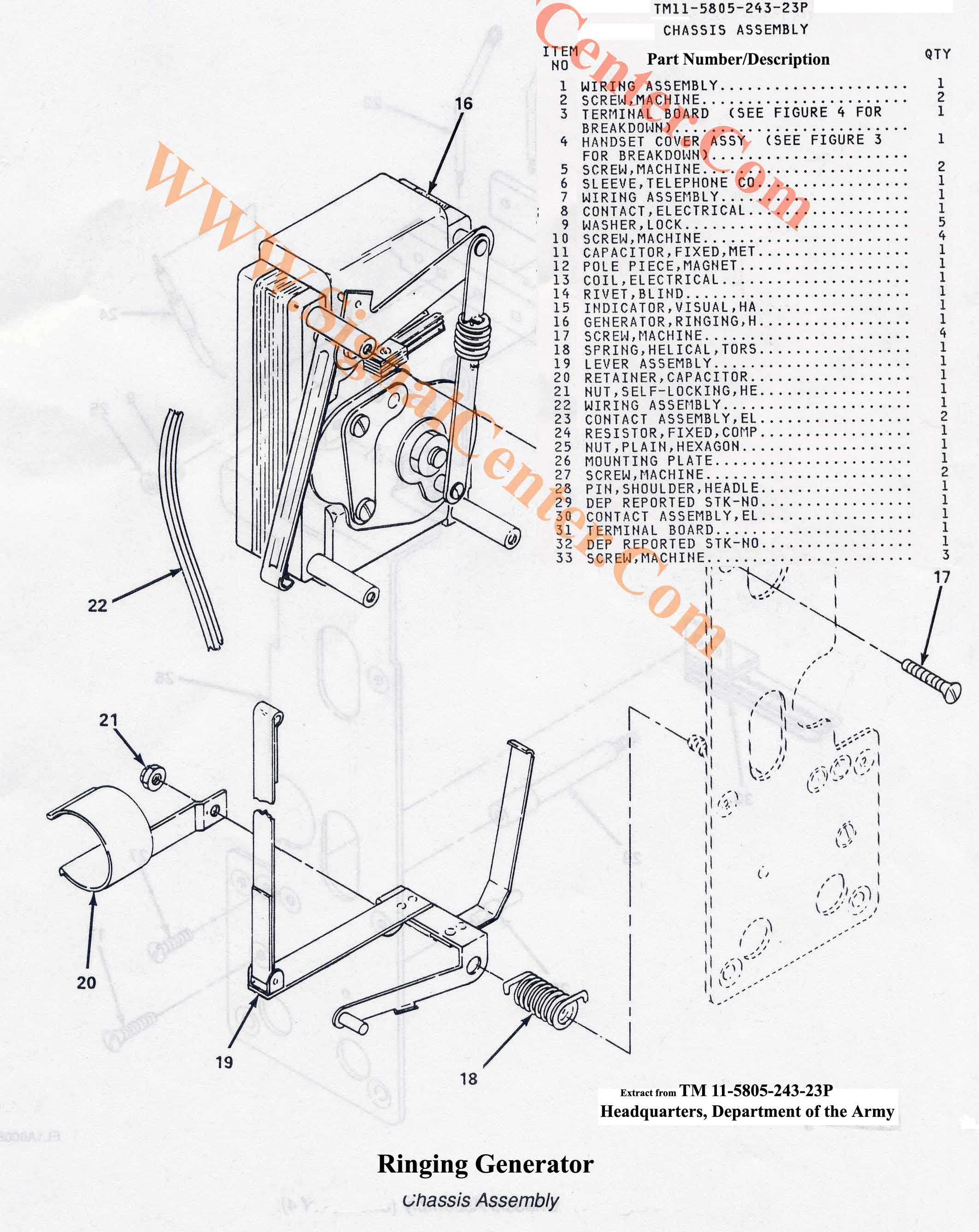 Ta 1 Pt Ringing Generator Assembly