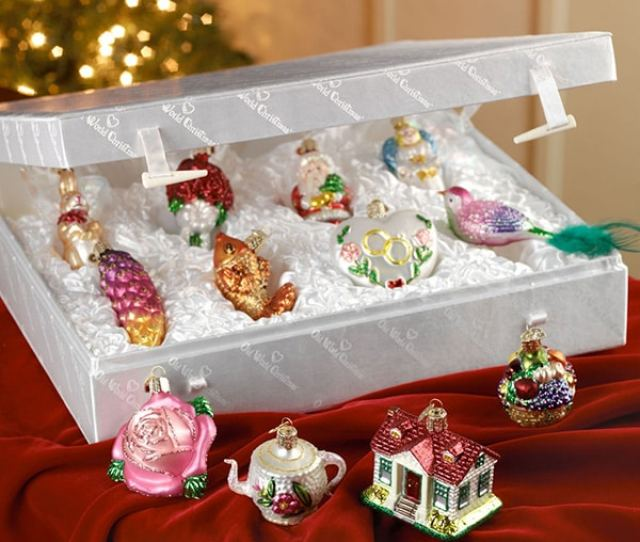 Merck Familys Old World Christmas Brides Tree Glass Ornaments Set Of