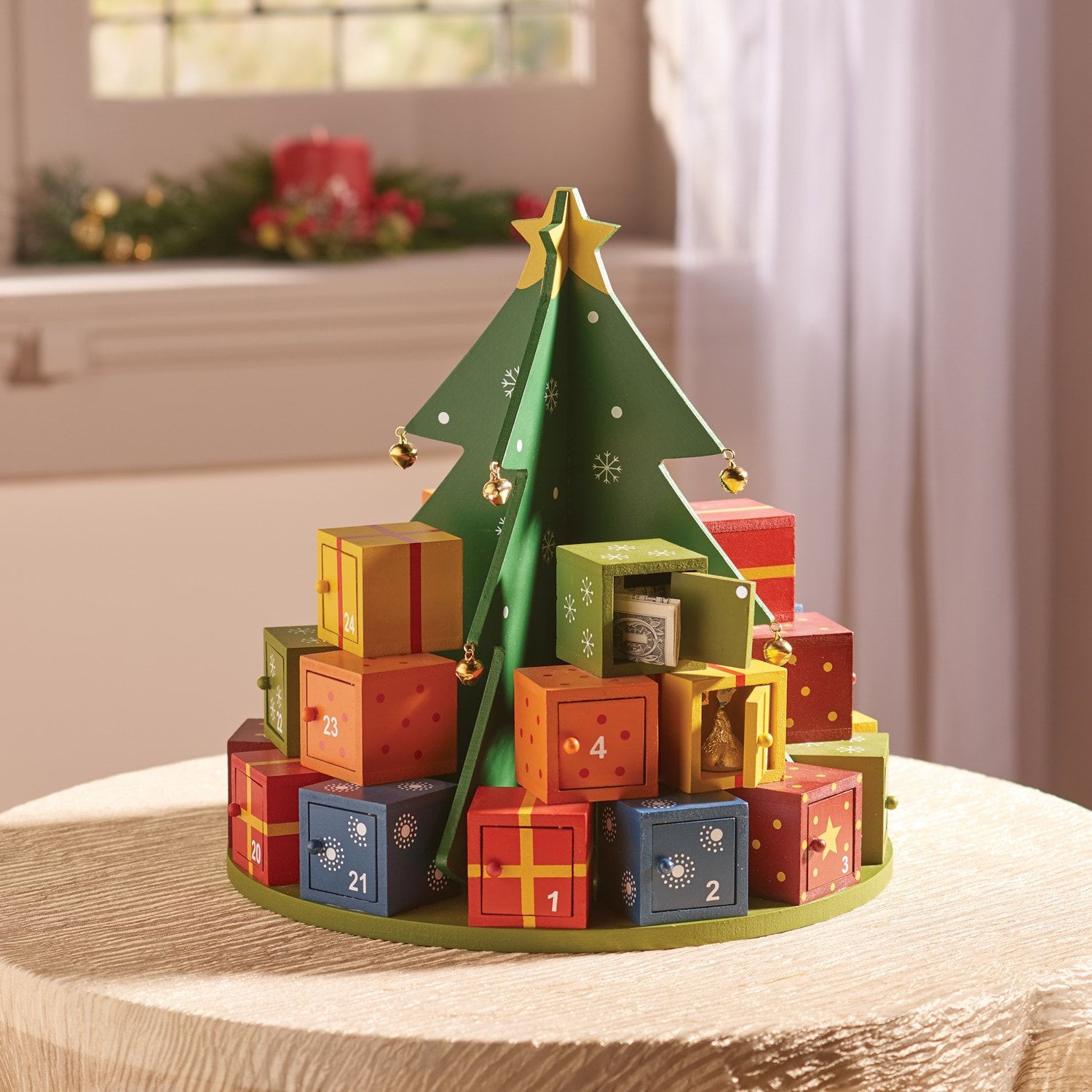 Wooden Christmas Tree Advent Calendar Holiday Countdown