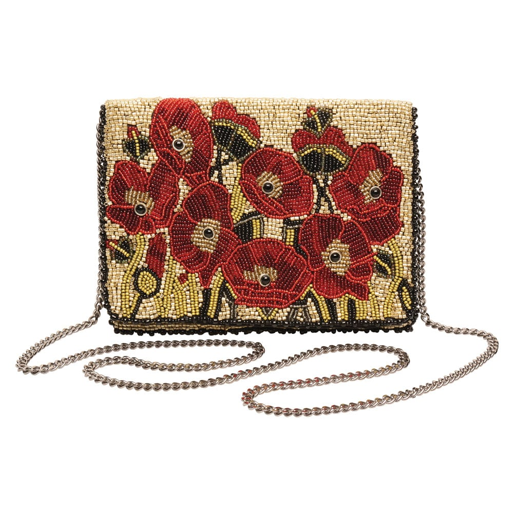 Womens Mary Frances Poppies Beaded Handbag Red Floral