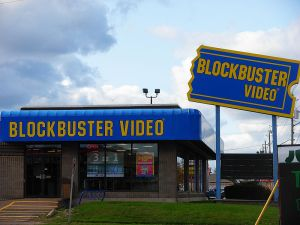 Blockbuster location in Moncton, NB, Canada, now closed, displays original company logo on its signage.