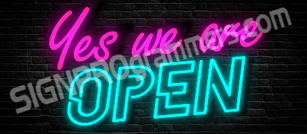 03-071 YES WE ARE OPEN NEON_192x440W