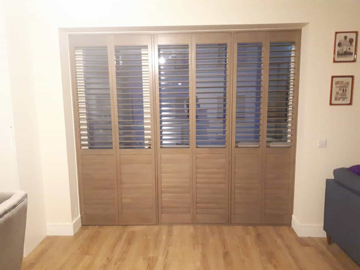 Rustic Gray Plantation Shutters Fitted In Luttrelstown