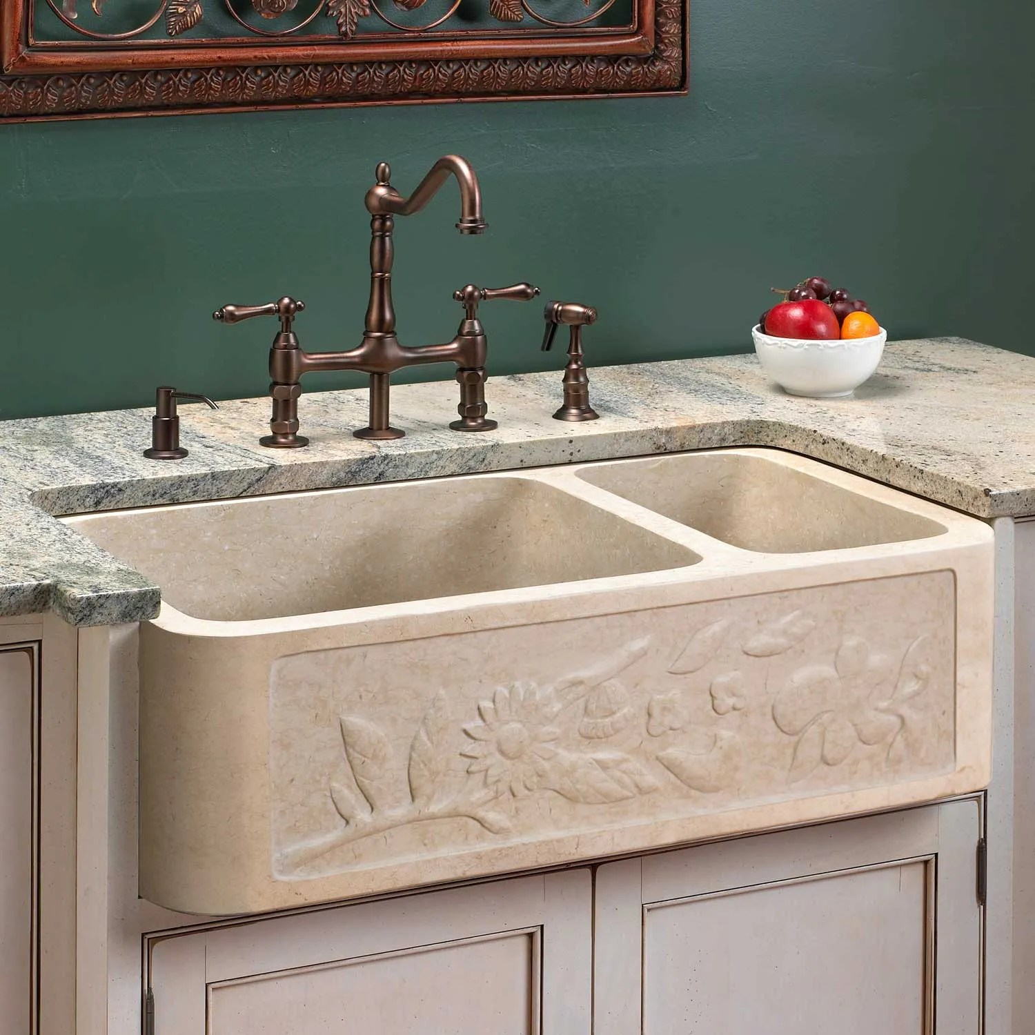 polished granite double bowl farmhouse sink chiseled on kitchens with farmhouse sinks id=31224