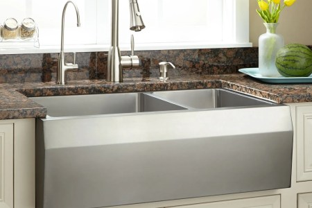 Farmhouse Sink Buying Guide Stainless steel sinks generally have a more modern look and feel to them   and their selection of apron designs follow that theme
