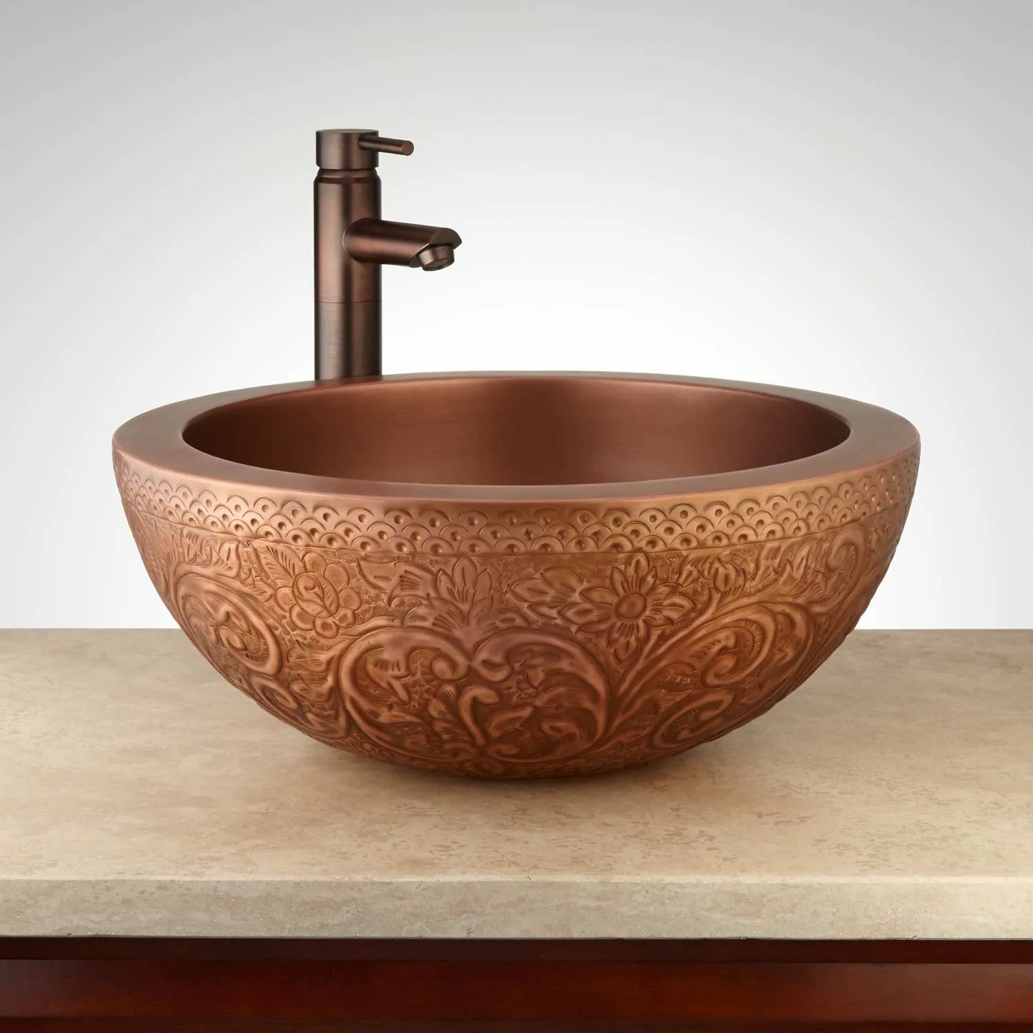 antique copper bathroom sink | signature hardware