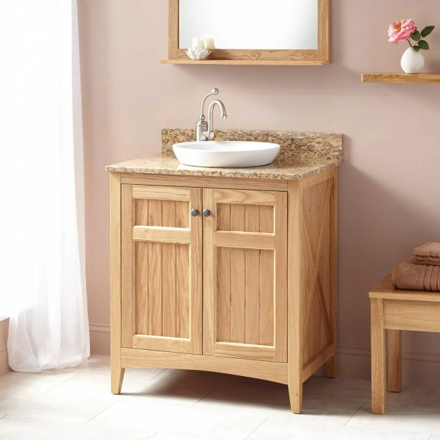 Double Sink Oak Vanity