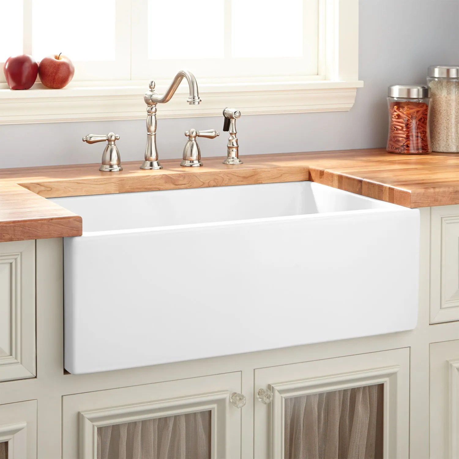 24 risinger reversible fireclay farmhouse sink smooth on kitchens with farmhouse sinks id=97787