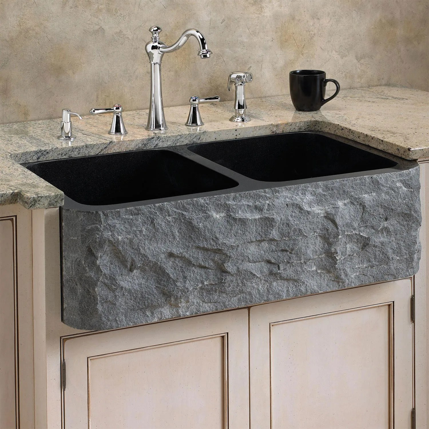 Polished Granite Farmhouse Sink - Chiseled Front - Kitchen on Farmhouse Kitchen Farmhouse Granite Countertops  id=79691