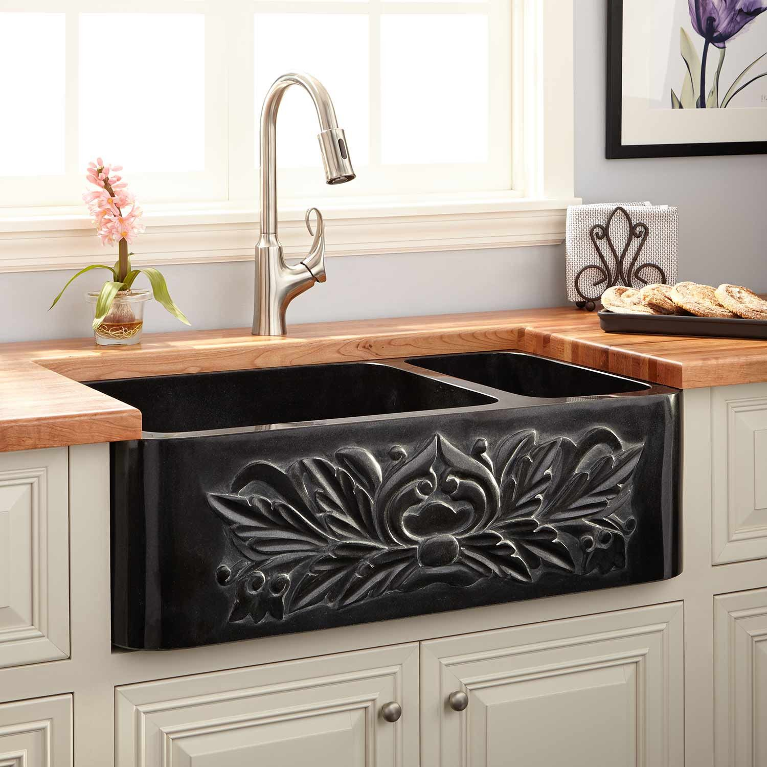 "33"" Ivy 70/30 Offset Double-Bowl Polished Granite ... on Farmhouse Granite Countertops  id=44834"