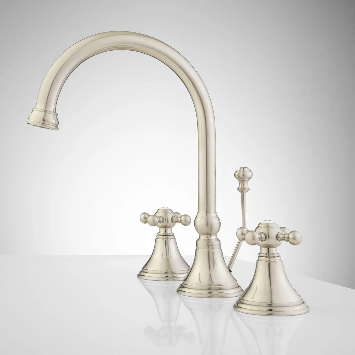 Melanie Widespread Gooseneck Bathroom Faucet Contemporary Cross Handles Bathroom