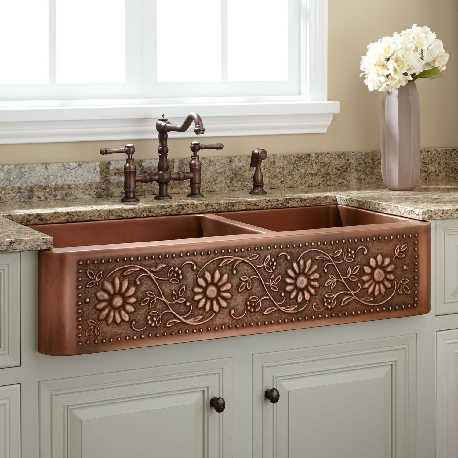 42 sunflower 60 40 offset double bowl copper farmhouse on kitchens with farmhouse sinks id=88762