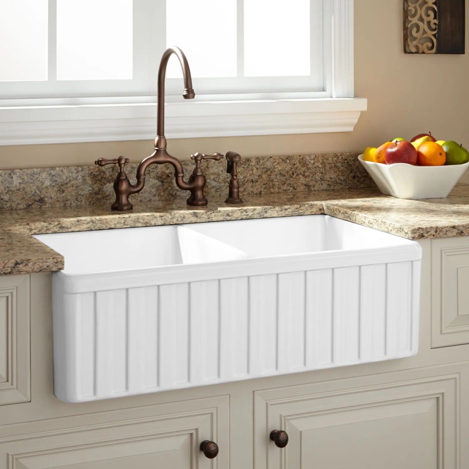 33 oldham double bowl fireclay farmhouse sink fluted on kitchens with farmhouse sinks id=14092