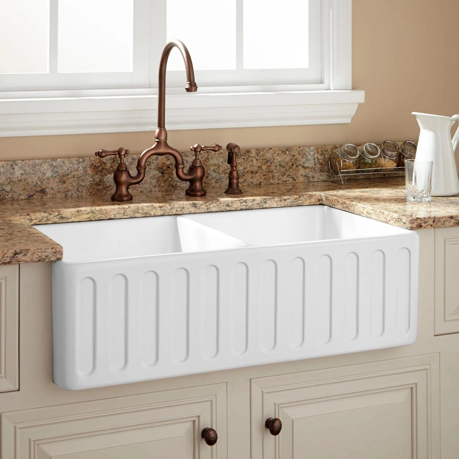33 northing double bowl fireclay farmhouse sink white on kitchens with farmhouse sinks id=25828