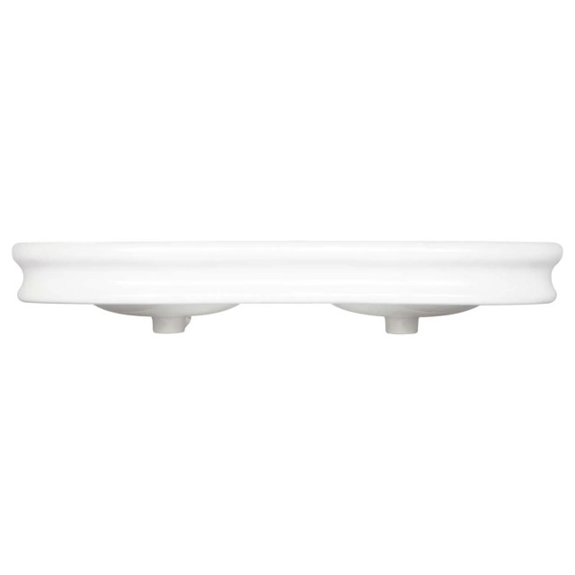 "46"" Adler Double Bowl Porcelain Wall Mount Bathroom Sink Wall"