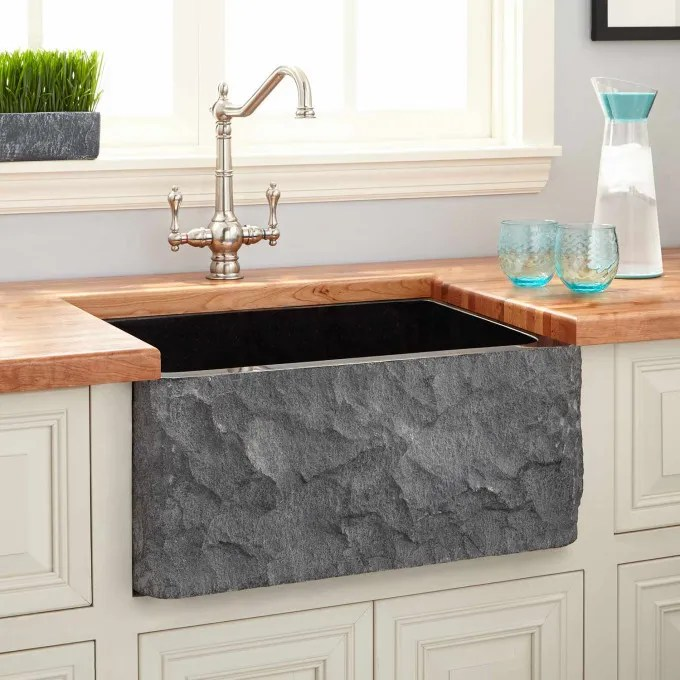 """24"""" Polished Granite Farmhouse Sink with Chiseled Apron ... on Farmhouse Kitchen Farmhouse Granite Countertops  id=27403"""