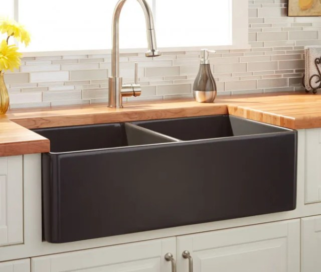 Reinhard Double Bowl Fireclay Farmhouse Sink Dark Gray