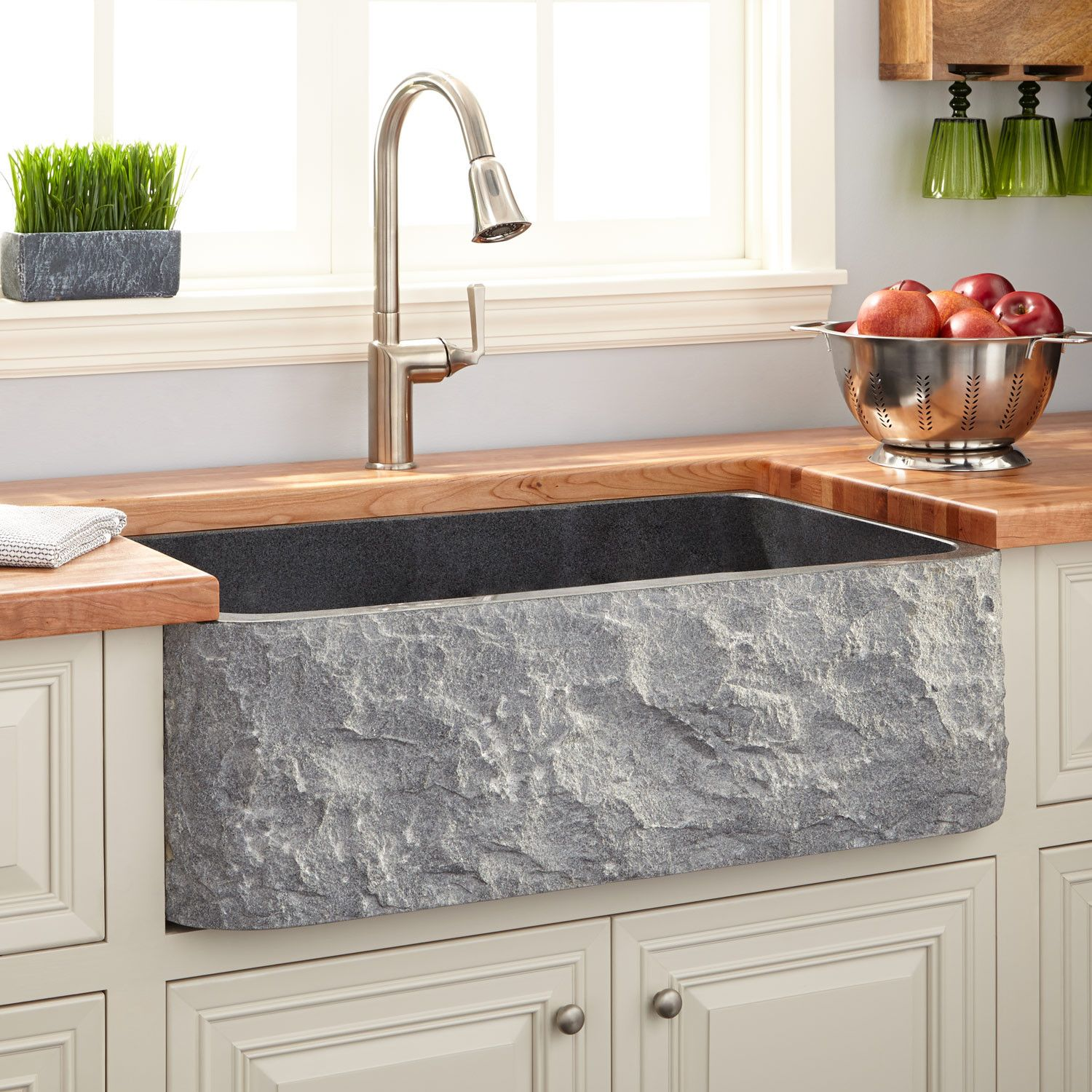 33 Polished Granite Farmhouse Sink Chiseled Apron