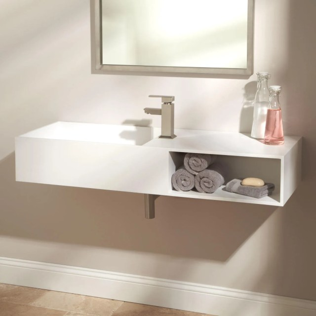 "47"" Ellie Resin Sink White Matte Finish Bathroom Sinks Bathroom"