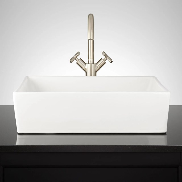 Abbett Rectangular Porcelain Vessel Sink Bathroom