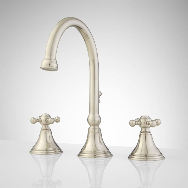 Melanie Widespread Gooseneck Bathroom Faucet Contemporary Cross