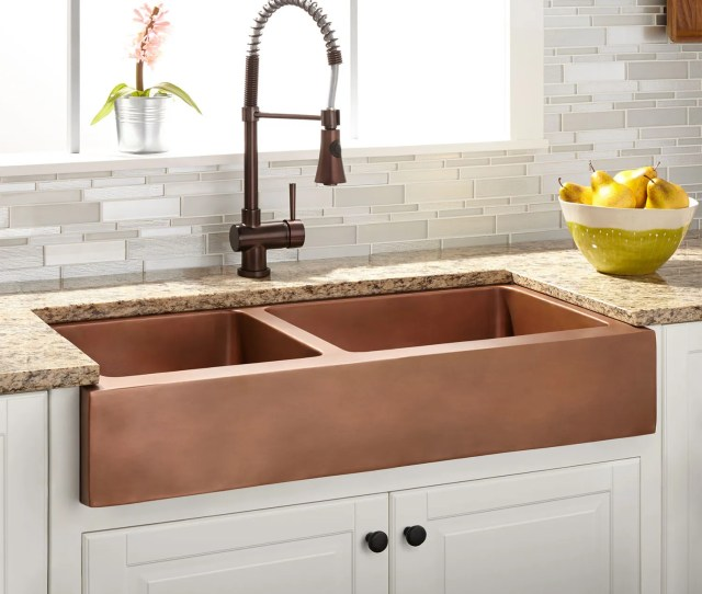 Smithstone Double Bowl Copper Retrofit Farmhouse Sink
