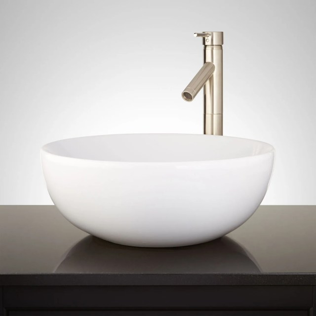 Toucey Porcelain Vessel Sink White Bathroom
