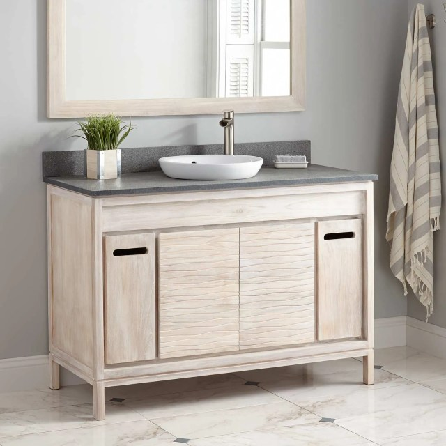 "48"" Becker Teak Vanity for Semi Recessed Sink Whitewash Bathroom"