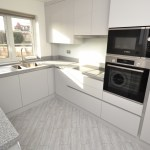 Metal Handleless Kitchen with Corian