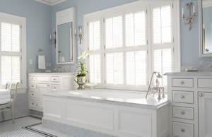 Bathroom Shutters with Divider Rail