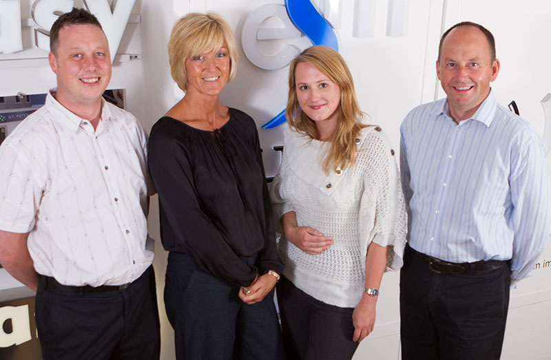 From l to r: Chris Foster, Debbie, Duggan, Justyna Szabuniewics, and MD Ian Drinkwater