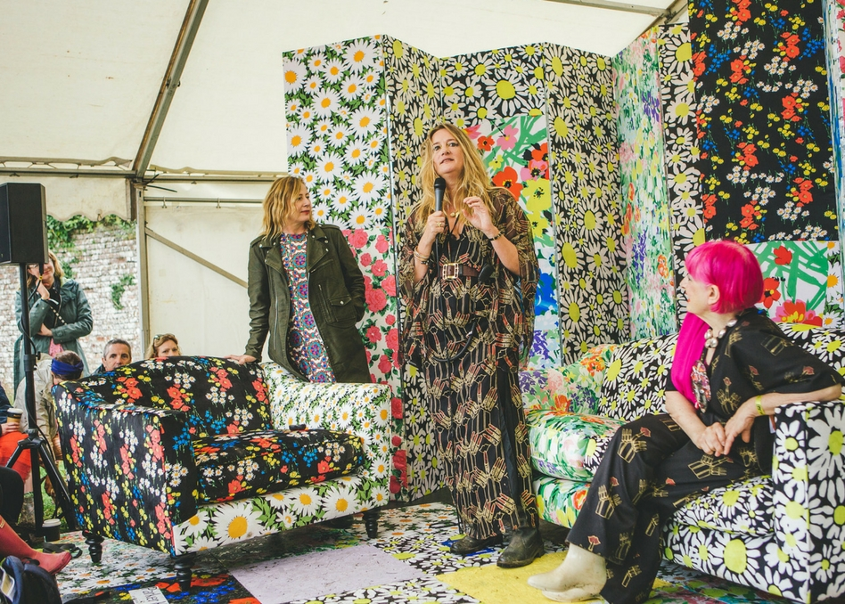 Fashion legend Zandra Rhodes (right) interviewed at Port Eliot festival