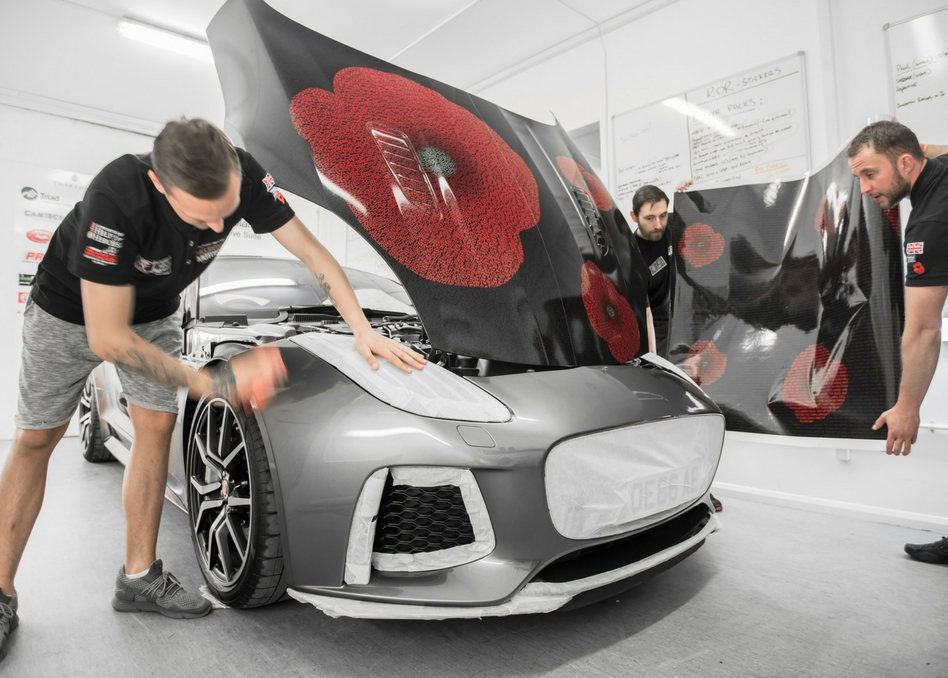 Mission Motorsport team wrap Jaguar Poppy car