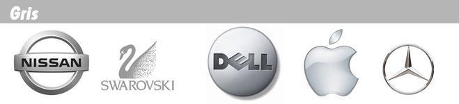 Ejemplos de marcas y logotipos de color gris