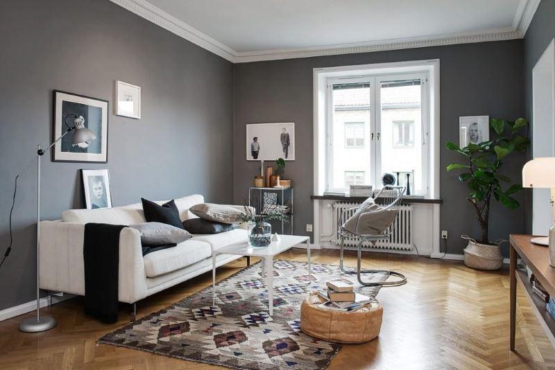 ejemplo de decoración en color gris marengo