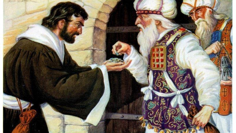 el pago de las 30 piezas de plata de los sumos sacerdotes a Judas