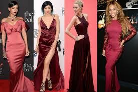 en vestidos de noche y de fiesta el color marsala es muy usado
