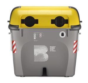 contenedor amarillo de metal y plástico