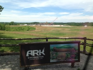 View from the Ark Encounter Observation Deck, which opened in summer 2015. Visitors view the ark under construction.