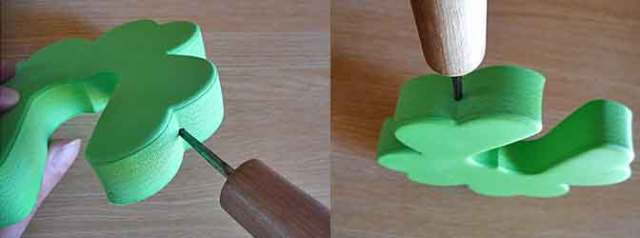 EVA樹脂クッションに穴を開ける