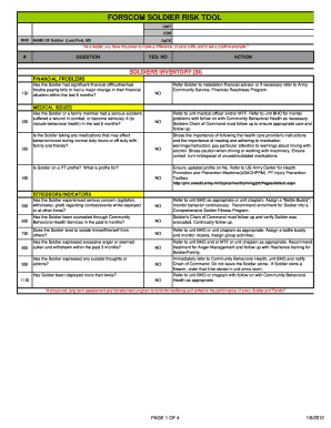 Easily fill out pdf blank, edit, and sign them. Soldier Risk Assessment Army Fill Out And Sign Printable Pdf Template Signnow