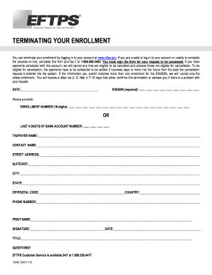 Terminating Enrollment Fill Out And